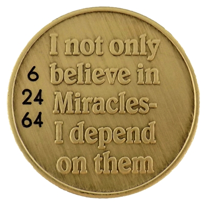 Engraved Bronze Recovery Coin - Expect Miracles and a custom engraved Anniversary Date - Recovery Shop