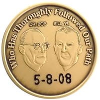 Engraved AA Coin featuring Bill Wilson and Dr. Bob by Recovery Emporium - Recovery Shop