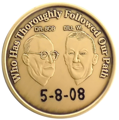 Engraved AA Coin featuring Bill Wilson and Dr. Bob and a custom engraved sobriety date - Recovery Shop