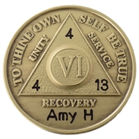 Custom Engraved AA Anniversary Medallion with sobriety date engraved on it