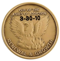 Custom Engraved Out of the Ashes of Addiction Bronze Inspirational Medallion