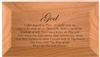 "3"" x 6"" x 10.5"" wooden keepsake box with laser engraving of the AA 3rd step prayer on the lid"