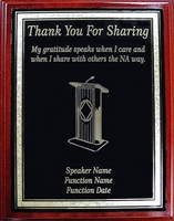 NA Thank you for Sharing Plaque - Laser Engraved Metal Plate on Mahogany