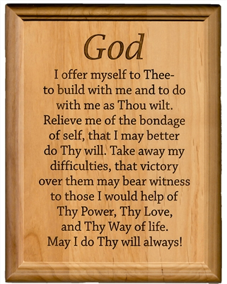 "AA 3rd Step Prayer 7"" x 9"" Laser Engraved Alder Wood Plaque"