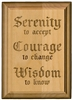 "Laser Engraved Serenity Courage Wisdom 5"" x 7"" Alder wood Plaque"