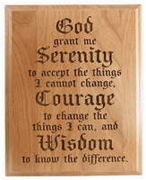 "Laser Engraved Serenity Prayer 7"" x 9"" Alder Wood Plaque"