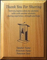 AA Custom Thank You For Sharing Plaque