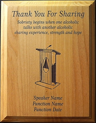 "Custom AA Thank You For Sharing 7"" x 9"" Plaque"