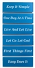 Blue and White - Laser Engraved - Recovery Slogan Magnet Set of 6