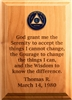 Custom Serenity Prayer Wall Medallion Holder Plaque