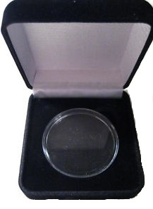 Black Velvet Medallion Holder Box with an air tight Clear Acrylic Capsule
