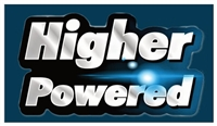 "Higher Powered Blue and Silver 3 1/2"" x 2"" Magnet"