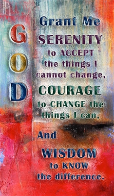 Serenity Prayer Recovery Magnet on an abstract background