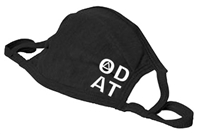 Adjustable - Black 2-Ply Cotton/Poly Blend Face Mask with White Lettering