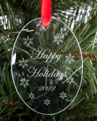The 2019 - Happy Holidays - Recovery Ornament featuring 9 unique snowflakes with a circle-triangle style logo (Alcoholics Anonymous or AA) at the center of each flake