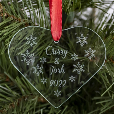The 2019 -Couple in Recovery ornament is a personalized Recovery Ornament featuring snowflakes and a personalized message that includes your name or names (Lyle & Theresa are the names engraved on the featured image) found exclusively at Recoveryshop