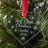 The 2019 - First Clean Christmas- Recovery Ornament featuring snowflakes and a personalized message that includes your name, the date, and First Clean Christmas.