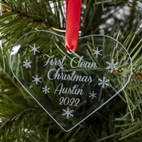 The 2020 - First Clean Christmas- Recovery Ornament featuring snowflakes and a personalized message that includes your name, the date, and First Clean Christmas.