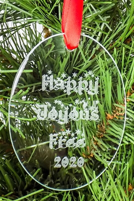 HAPPY, JOYOUS, AND FREE - 2019 - Oval shaped Recovery Ornament