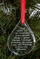 Raindrop Shaped Laser Engraved Serenity Prayer Holiday Ornament