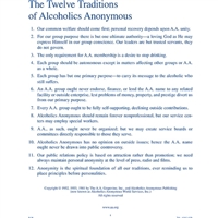 "8 1/2"" x 11"" full printed page of The Twelve Traditions of Alcoholics Anonymous"