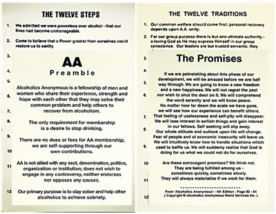 AA Meeting Poster Set - 12 Steps, 12 Traditions, AA Preamble, & Promises Posters