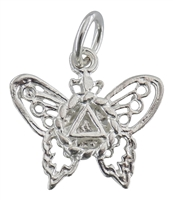 Butterfly with AA Logo Pendant - Sterling Silver