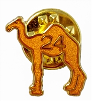 A golden sparkle painted camel pin with the number 24 in the center