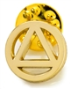 An open wire, gold plated, AA logo lapel pin