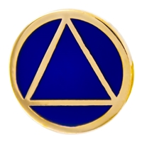 "5/8"" Diameter Gold AA Logo with Blue background Lapel Pin"