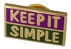 Purple, Green and Gold Plated Keep It Simple Hat Pin