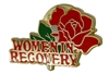 Women in Recovery - with red rose Lapel Pin