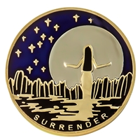 Surrender Moon & Stars Painted Recovery Medallion