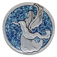 Guardian Angel Blue Sparkle Painted Pewter Medallion