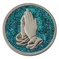 Praying Hands Painted Pewter Medallion