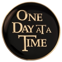 Black and Gold Tri-Plate | One Day At A Time | AA Logo Medallion