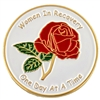 Women In Recovery - One Day At A Time Rose Painted Medallion