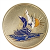 Gold Plated Painted Sailboat Medallion