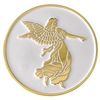 White & Gold-Plated Angel Painted Medallion