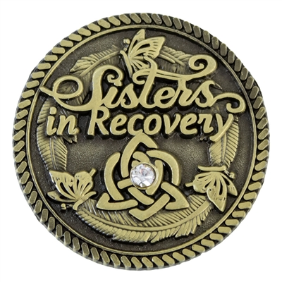 Sisters in Recovery - Never Alone Again Bronze Medallion with CZ stone. | $5.00 each