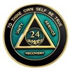 Translucent Teal & Black Painted AA Anniversary Medallion | $12.00 | Features: Alcoholics Anonymous three legacies: unity, service, and recovery.