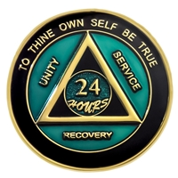 Teal-Black Painted AA Anniversary Medallion