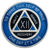 $9.00 | Recovery Emporium Brand | AA | Blue & Black on Silver Tri-Plate Anniversary Medallion