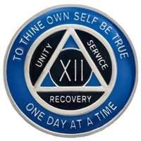 $12.00 | Recovery Emporium Brand | AA | Blue & Black on Silver Tri-Plate Anniversary Medallion