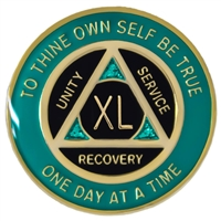 Recovery Emporium Brand | AA | Teal - Black & Teal Sparkle on Gold Tri-Plate Anniversary Medallion | $12.00 Each
