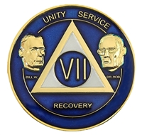 AA Founders - Translucent Blue & Pearl on Gold Tri-Plate Anniversary Medallion | $15.00 | Features: Alcoholics Anonymous founders Bill W and Dr Bob