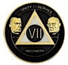 AA Coins, AA Medallion, Founders Medallion - Black with Pearl featuring Alcoholics Anonymous founders Bill W and Dr Bob - 12-Year Medallion is featured