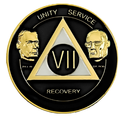 AA Founders - Black & Pearl on Gold Tri-Plate Medallion | $15.00 | Features: Alcoholics Anonymous founders Bill W and Dr Bob