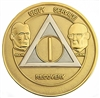 AA Founders - Gold-Silver Bi-Plate Anniversary Medallion | $10.00 | Features: Bill W and Dr. Bob and the circle-triangle AA logo with the Roman numeral in the center.
