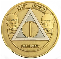 AA Coins, AA Medallions, AA Founders Gold-Silver Bi-Plate 1- Year  Anniversary Medallion